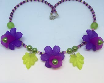 Lime Green & Purple and Pink Paradise Flower Necklace Handmade Necklace-Gifts for women-Gifts for her-Ladies Jewellery-Ladies gifts