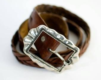 Vintage Women's Woven Distressed Brown Leather Belt Waist Medium Large FREE UK SHIPPING