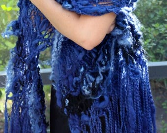 XMAS IN JULY up to 50%off New Hand Knit Shawl named for Blue Sky (Allman Brothers), part of my Rock&Roll Collection, Blues made of Rustic Ar