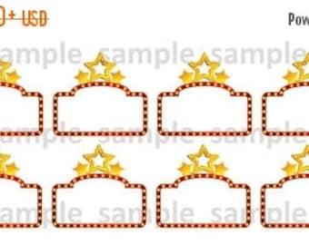 Movie, Planner Stickers, Movie Night, Date, Family, Fun, Stars, Erin Condren, Plum Planner, Happy Planner, Planner, Horizontal, Vertical