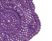 Purple hand dyed Crochet Vintage Doily