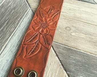 Leather floral cuff-bracelets- tooled leather bracelets-bracelets