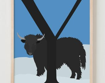 Animal Alphabet, Y is for Yak Fine Art Print