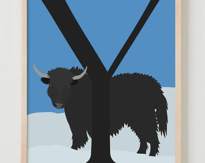 Animal Alphabet, Y is for Yak Fine Art Print