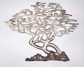 Vintage Brass Tree Sculpture, Mid Century Modern Metal Wall Art, Brass Wall Hanging, Chinoiserie Decor, Zen Asian Style Bonzai Tree