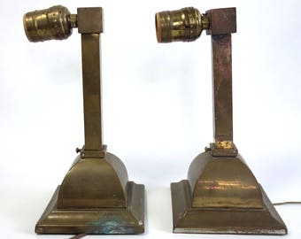 Vintage Arts and Crafts Brass Sconce Pair, Antique Mission Style Brass Sconces, Pair Brass Light Fixtures, Craftsman Style Home