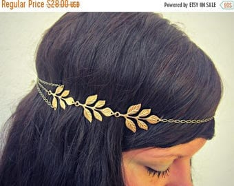 VACATION SALE golden leaves head chain, chain headband, grecian headband, metal headband, unique headband