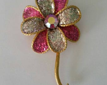Vintage Glittered Flower Brooch Pink