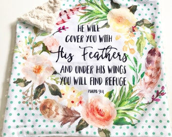 He will cover you with his feathers Baby Girl Blanket, Floral Wreath Watercolour Minky Baby Blanket, Pink Baby Blanket, Psalm 91:4 Baby Gift