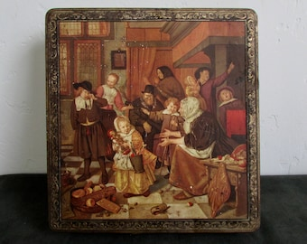 Tin Oulevay Biscuits, Morges, Switzerland Antique/Vintage Tin Made in Belgium Dutch Masterpiece The Feast of St. Nicholas
