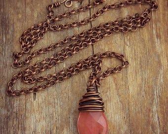 Cherry Quartz Necklace - Pendant Necklace - Copper Necklace - Wire Wrapped Pendant - Layer Necklace - Minimal Necklace - Quartz