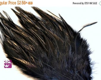 ON SALE Black Hackle Feather Pad - Hair Feathers - DIY Headband Supplies - Feather Pads - Rooster Feathers - Bridal Supplies - Halloween Cos