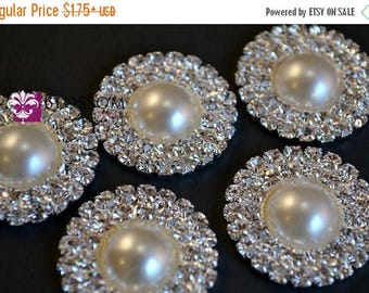 ON SALE Metal Pearl and Rhinestone FLATBACK Embellishments 25mm - Flower Centers - Wedding Bridal Prom Jewels - Blossom Supplies Wholesale
