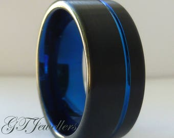 Blue & Black Tungsten Wedding Band, Brushed Tungsten Ring, Wedding Ring, Women Men, His Hers, Anniversary Ring, Engagement Band TR83
