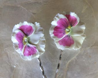 Floral hand painted hair pin, hair clip, accessories, reclaimed earrings