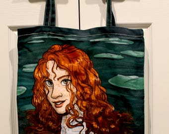Redhead celtic water fairy tote bag with lily pads and freckles