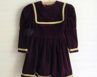 Girls Vintage Dress, Velvet Christmas Dress, Holiday Dress, Velvet Dress Burgundy Velvet Christmas Dress Girls Size 5 Velvet Christmas Dress