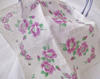 VINTAGE HANDKERCHIEF, square purple floral handkerchief, gift for bride or bridesmaid, birthday gift,  excellent condition