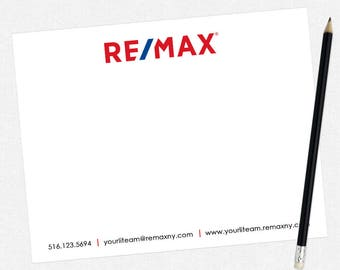 REMAX real estate flat notecards - REMAX personal stationery - thick, matte, full color both sides - free UPS ground shipping