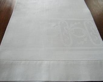Vintage White Damask Bath Towel, Hemstitched