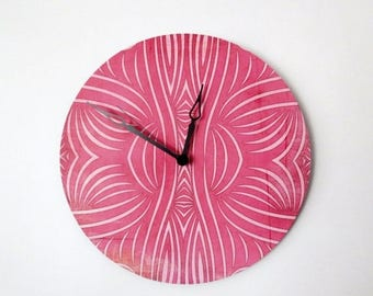 SALE, Wall Clock, Retro Wall Clock,  Pink Clock, Home and Living,  Decor & Housewares,  Birthday Gift,  Housewarming Gift