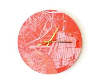 Unique Wall Clock, Orange Map Clock,  Home and Living, Decor & Housewares, Living Room Decor, Unique Gift