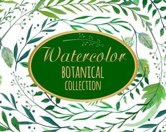 Botanical Watercolor Botanical Clipart, Herbal Greenery Garden Wedding, Watercolor Clipart, Botanical Wedding Wreath, Green Wedding Clip Art