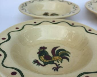 Vintage Metlox Poppytrail Green Rooster Set of four bowls