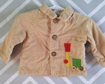 vintage corduroy jacket for baby with train applique by thomas size 3-6-9 months