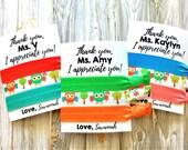SALE | Teacher Gift | Teacher Appreciation Gift | PERSONALIZED Hair Ties | Owls | Owl | Teacher Hair Tie Favors | School Spirit Colors