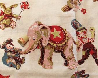 pair of vintage cotton circus print curtains