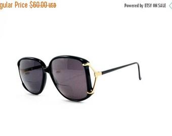Vintage Marchon Designer Optical Sunglasses Rx 125 Gold Black Frame 1980s