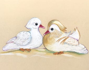 Original Art, Albino Mandarin Ducks, Mandarin Art, Aix galericulata, ORIGINAL DRAWING Authenticity, Duck Love Art, Symbol of Love