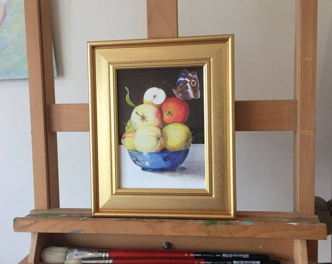 Fruitbowl with Apples, butterfly & beautiful blue Asian bowl. Classical stillife, Prosperity symbol, Art Print with Golden Coloured Frame