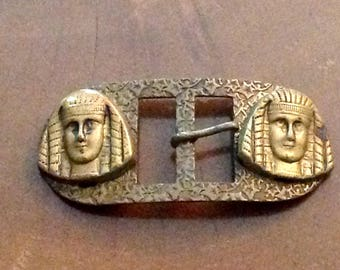 Vintage metal Art Deco Egyptian Revival belt buckle