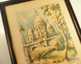 Mid Century Framed Paris Print -  Marius Girard Lithograph - La Sacre Coeur - Vintage 1960s