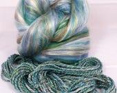 Sea Glass  -( 2 oz.)  Custom blended top - Seacell/  Merino / Silk / Rainbow Firestar ( 25/25/35/15 )
