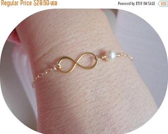 Christmas in July SALE Gold Infinity Bracelet, Birthstone Bracelet, Friendship Bracelet, Sister Jewelry, Gifts for Best Friends, Thin Gold B