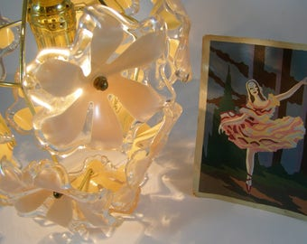 1960's Mod Flower Hanging Chandelier. Clear Transparent Lucite Acrylic Pale Pink Flowers. Gold Hardware. Nursery. Girl's Room. Powder Room.