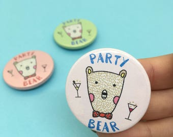 Party Bear Button Pin Badge - 38mm