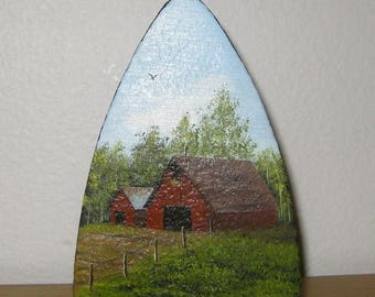 30% Off Clearance Sale Hand Painted Farm Scene Cast Iron Sad Iron