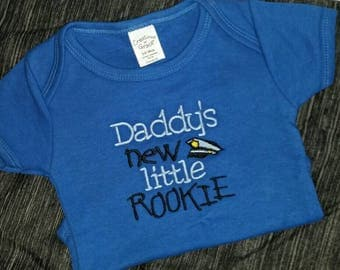 Police Officer Baby Boy Bodysuit Daddy's new little Rookie Police Hat 3 to 6 Month Ready to Ship