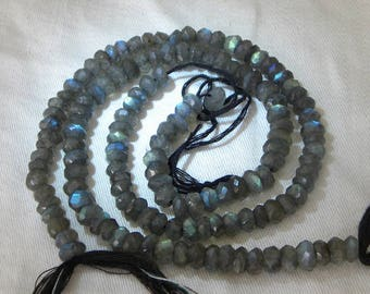 Labradorite Beads Natural 5 Inch Strand Large 6mm Faceted Gemstone Bead Rondelle Beads Take 10% Off Blue Labradorite Jewelry Craft Supplies