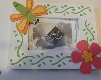 Hand Painted Childs Picture Frame Bee with a Flower
