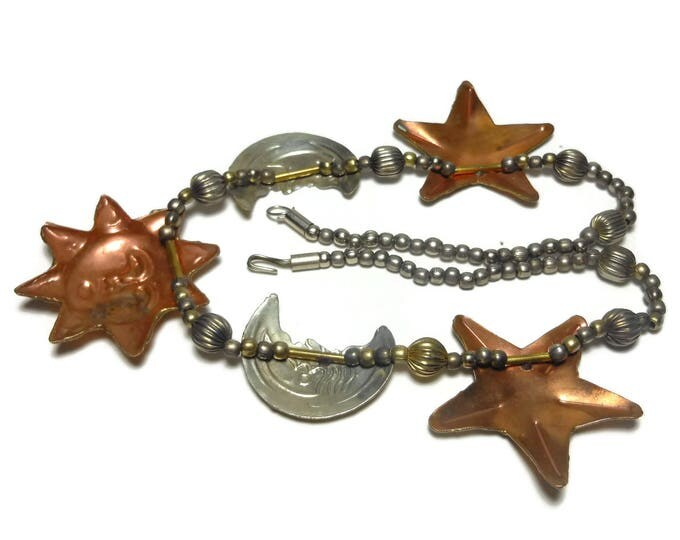 Celestial necklace, sun moon stars copper and silver tone beaded necklace with large charms, 80s Boho bohemian, Repoussé