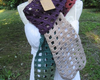 Hand Crocheted Windowpane Matching Scarf and Mittens (NEW)   Free Shipping