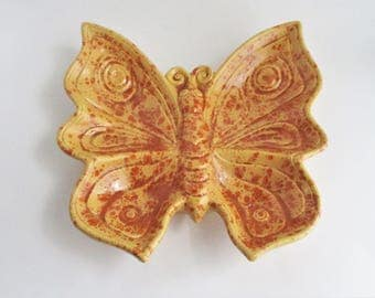 Vintage Butterfly Dish Retro Yellow Orange Ceramic Serving Plate Candy Relish
