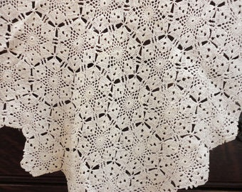 Easy Care Rayon Medallion Tablecloth Vintage  46 x 49 Inches  Cream Color