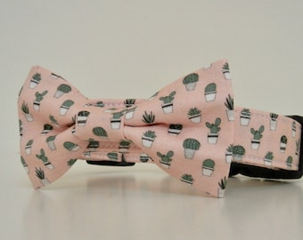 Succulent Summer Pink Green Dog Bow Tie Dog Collar Accessories Made to Order