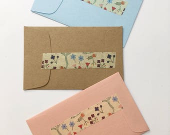 Creative Wedding Favors Flower Fragrance Sachets in Ditsy Floral Design Personalized Envelope Sachet Blue, Pink, Kraft Brown
